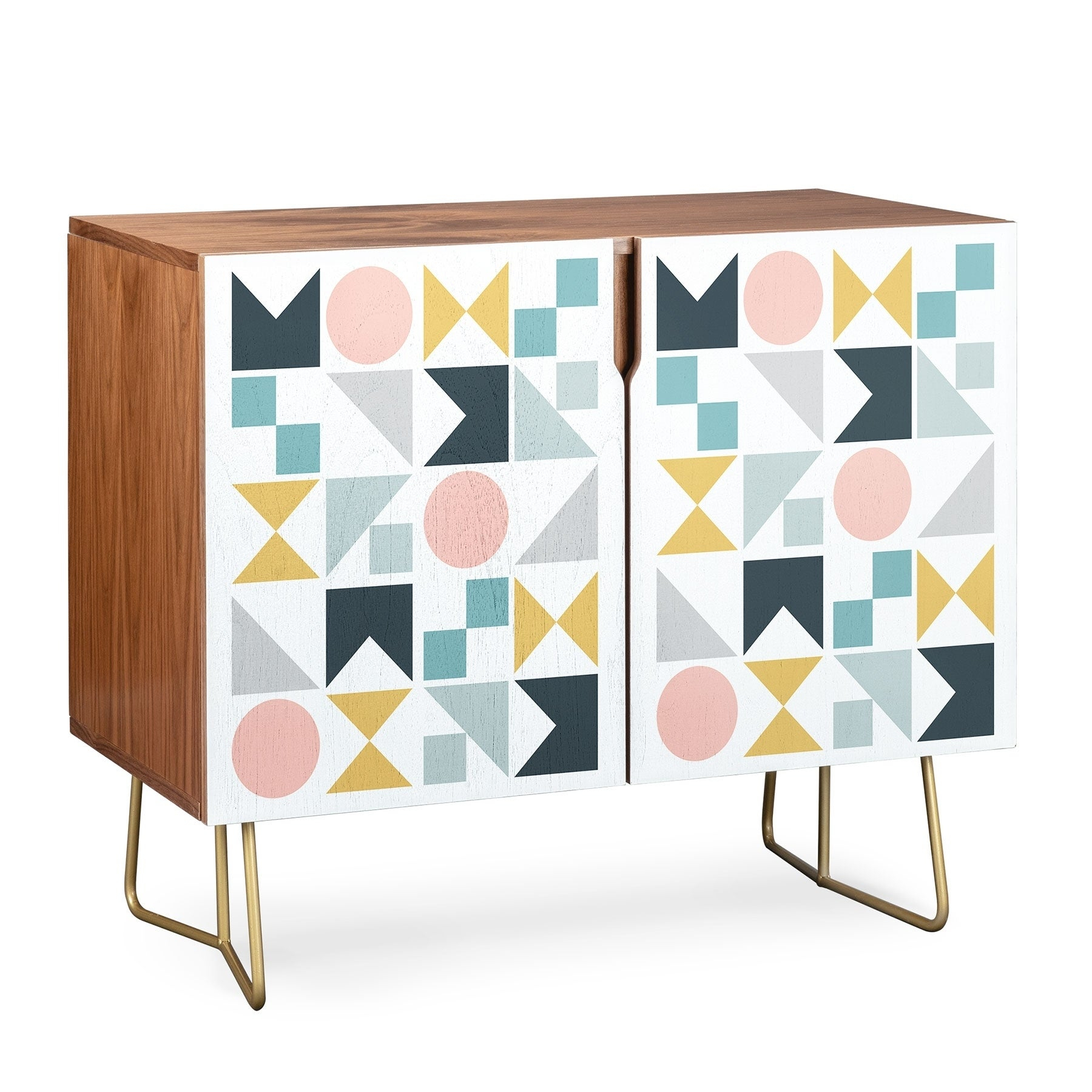 Deny Designs Modern Geometric Credenza (Walnut Or Birch, 2 Leg Options) Intended For Modele 7 Geometric Credenzas (Photo 7 of 30)