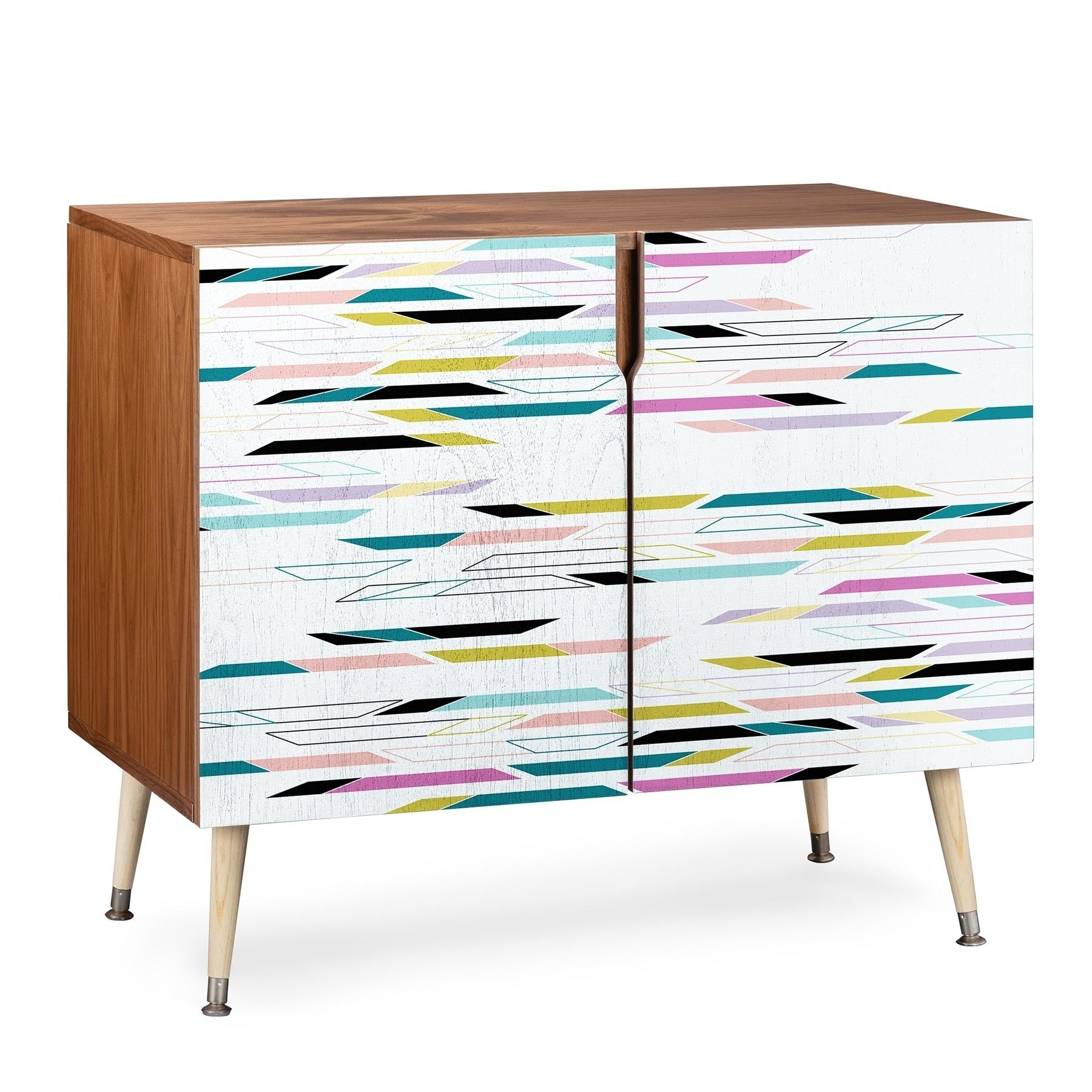 Deny Designs Multi Colored Geometric Shapes Credenza (Birch Or Walnut, 3  Leg Options) In Geometric Shapes Credenzas (Photo 8 of 30)