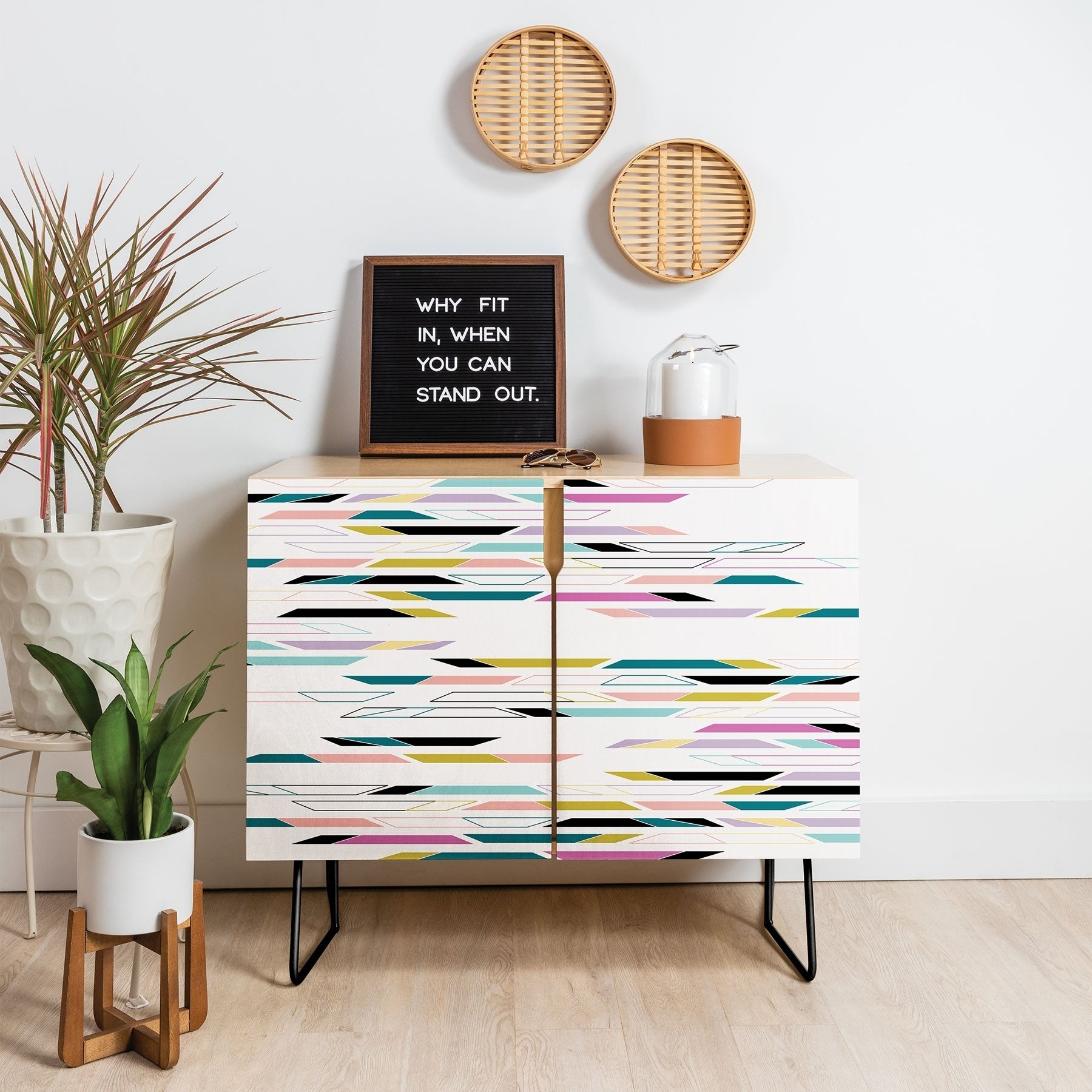 Deny Designs Multi Colored Geometric Shapes Credenza (Birch Or Walnut, 3  Leg Options) Intended For Multi Colored Geometric Shapes Credenzas (Photo 4 of 30)