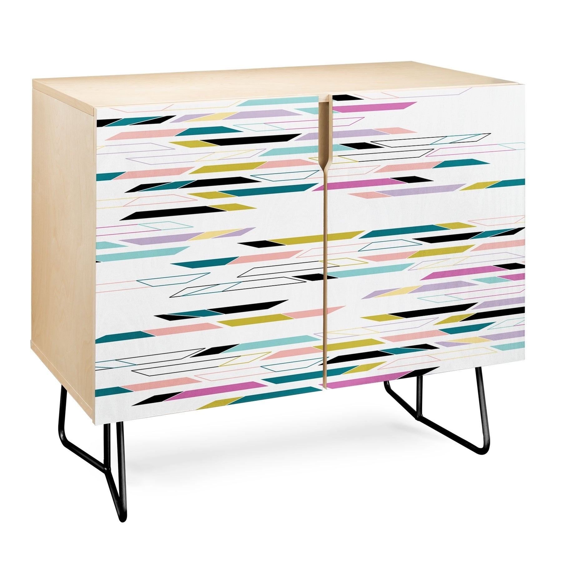 Deny Designs Multi Colored Geometric Shapes Credenza (Birch Or Walnut, 3  Leg Options) Intended For Multi Colored Geometric Shapes Credenzas (Photo 3 of 30)