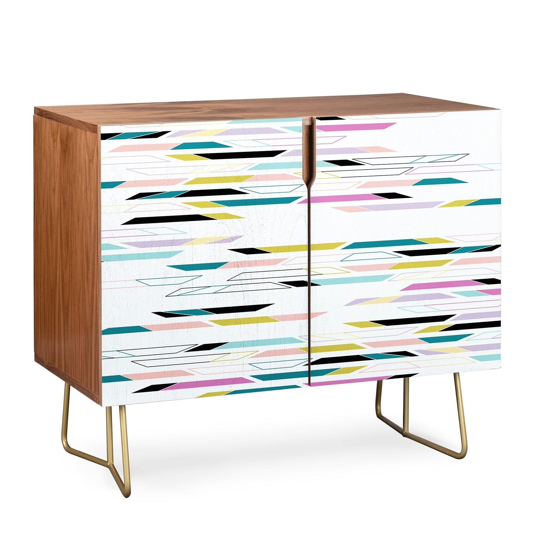 Deny Designs Multi Colored Geometric Shapes Credenza (Birch Or Walnut, 3 Leg Options) With Multi Colored Geometric Shapes Credenzas (Gallery 2 of 30)