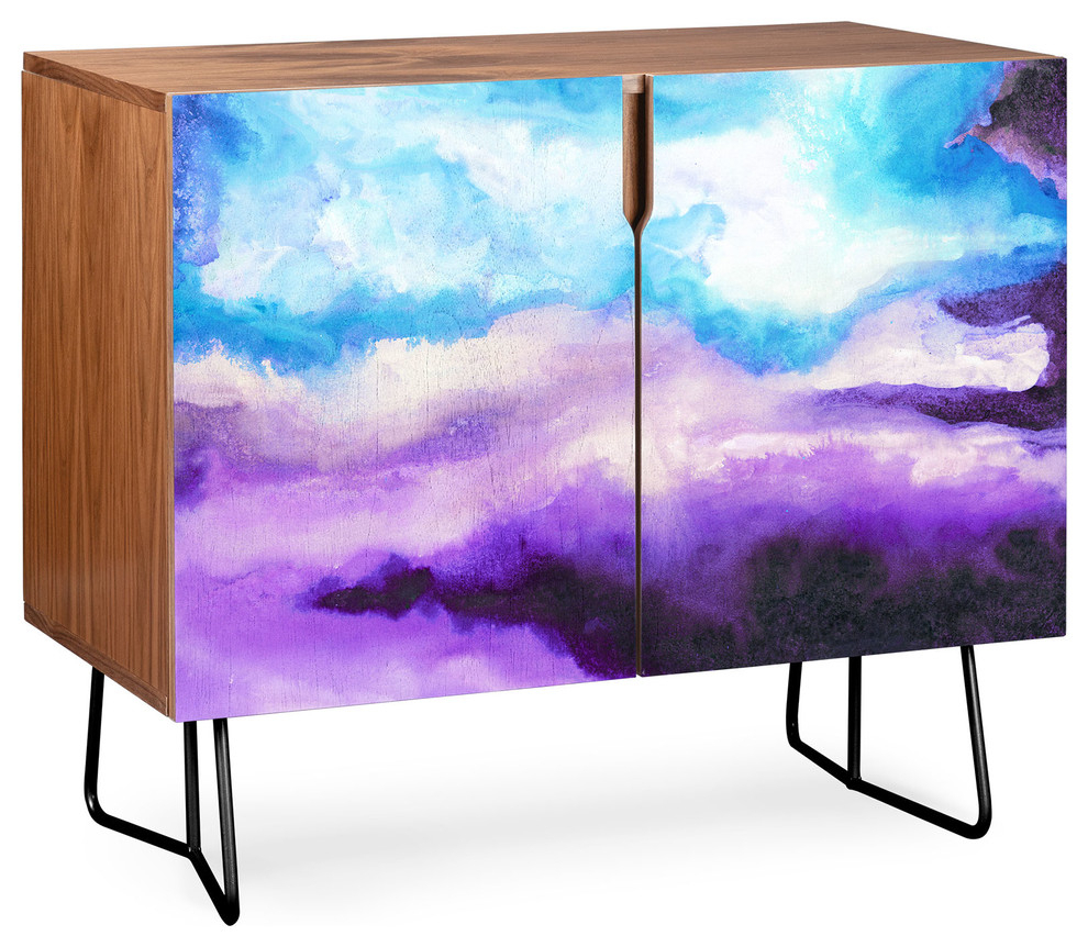 Deny Designs Noche Azul Credenza, Walnut, Black Steel Legs With Regard To Pink And Navy Peaks Credenzas (Gallery 17 of 30)