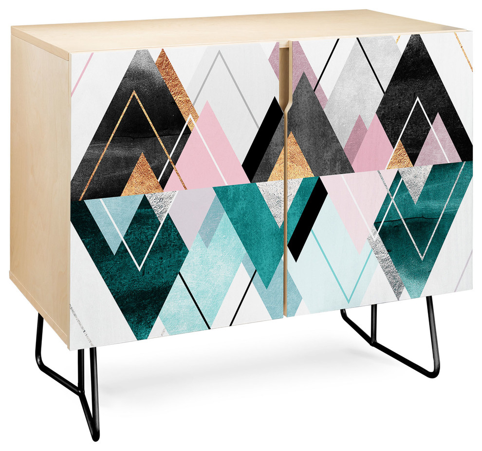 Deny Designs Nordic Seasons Credenza, Birch, Black Steel Legs Inside Botanical Harmony Credenzas (Photo 8 of 30)