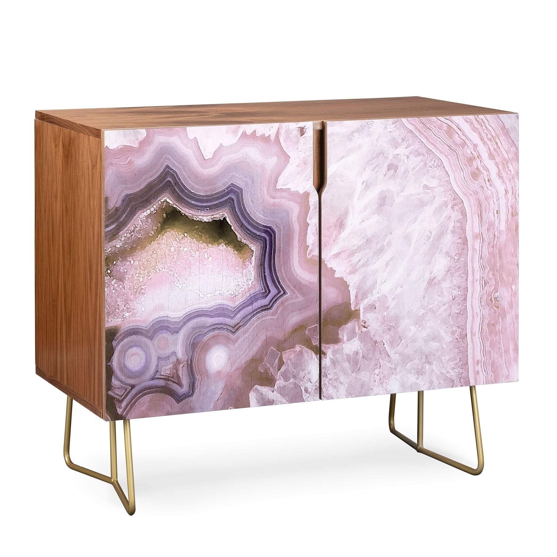 Deny Designs Pale Pink Agate Wood Credenza (3 Leg Options) Inside Copper Leaf Wood Credenzas (Photo 24 of 30)