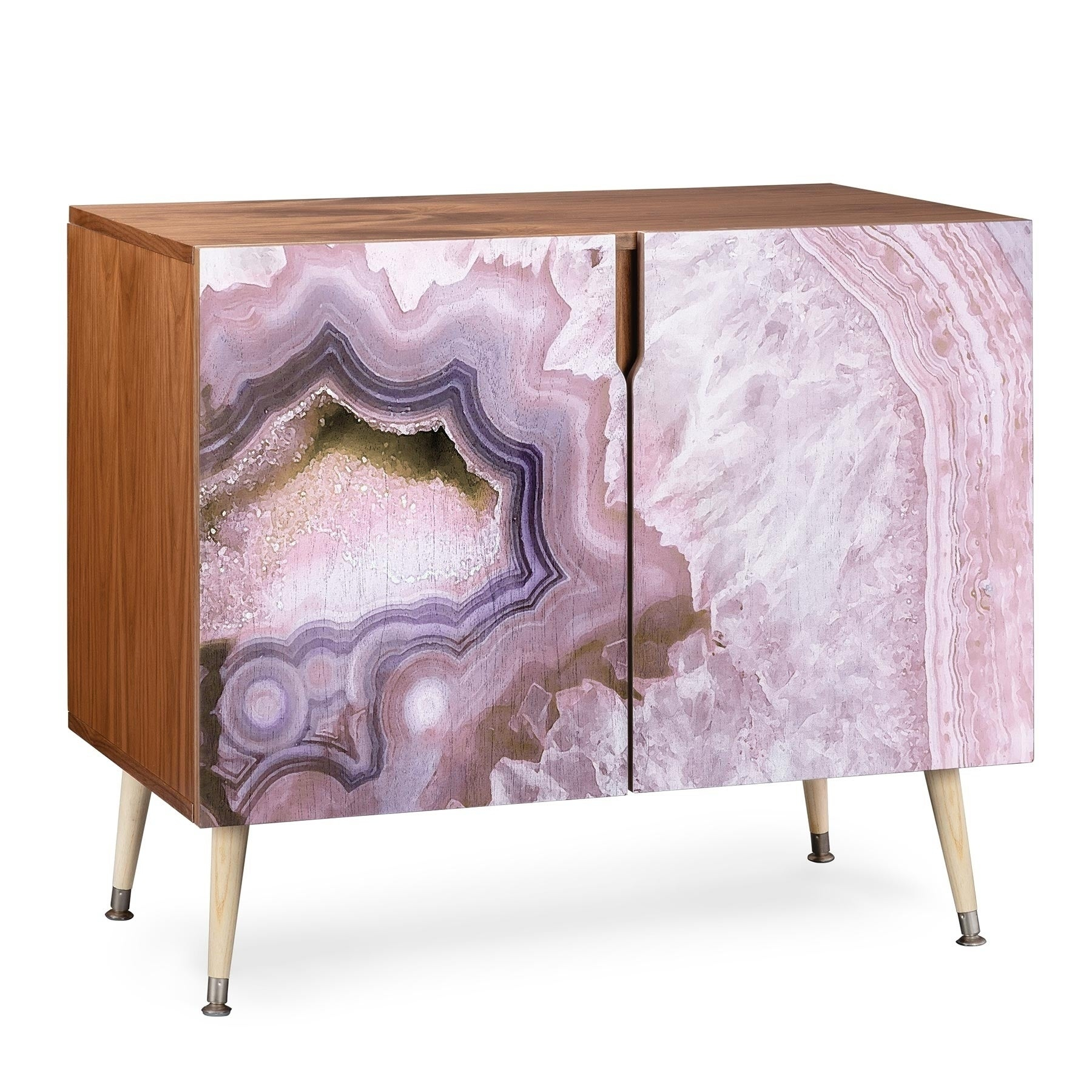 Deny Designs Pale Pink Agate Wood Credenza (3 Leg Options) With Regard To Pale Pink Bulbs Credenzas (Photo 12 of 30)