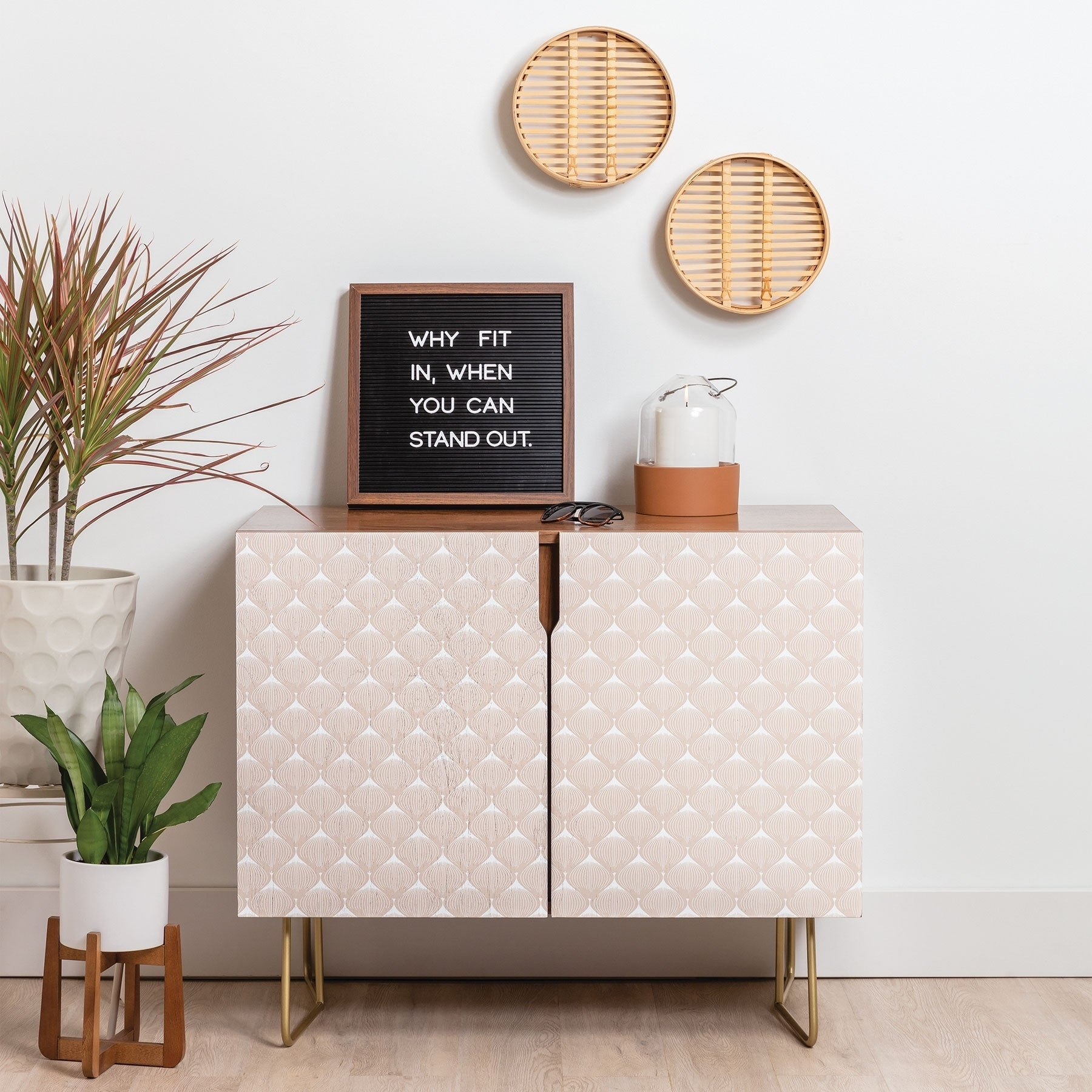 Deny Designs Pale Pink Bulbs Credenza (Birch Or Walnut, 2 Leg Options) Throughout Pale Pink Bulbs Credenzas (Gallery 2 of 30)