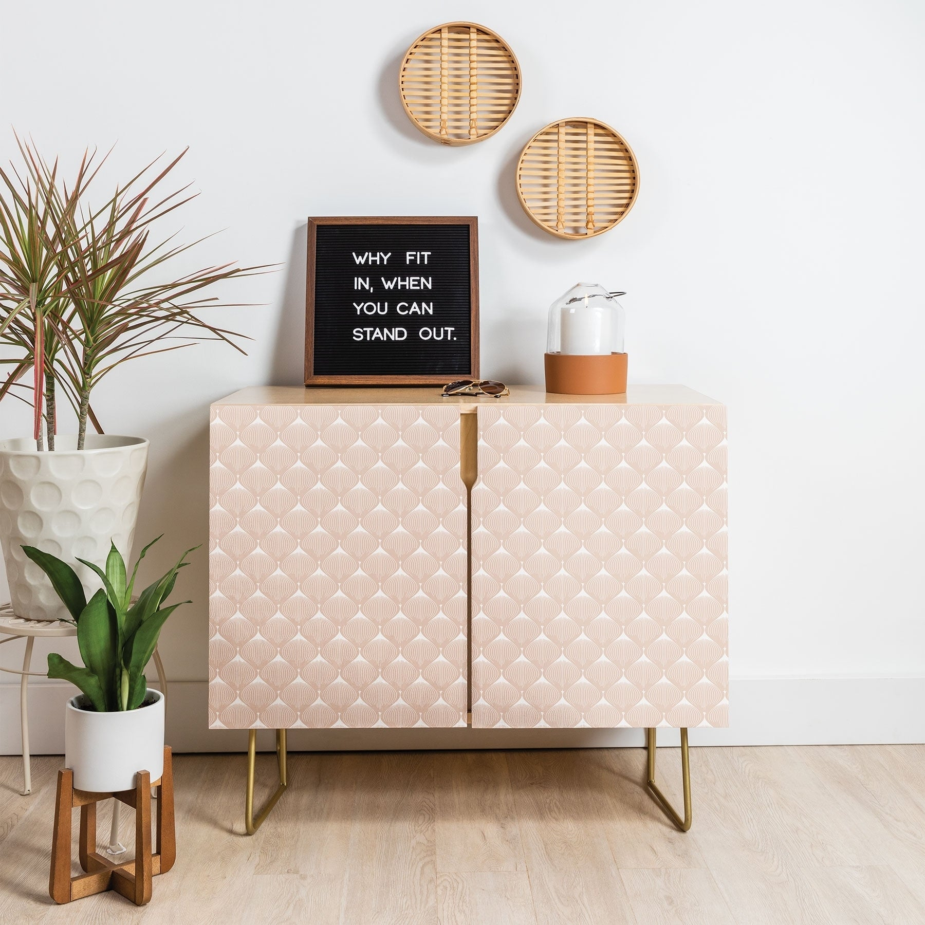 Deny Designs Pale Pink Bulbs Credenza (Birch Or Walnut, 2 Leg Options) Throughout Pale Pink Bulbs Credenzas (Gallery 1 of 30)
