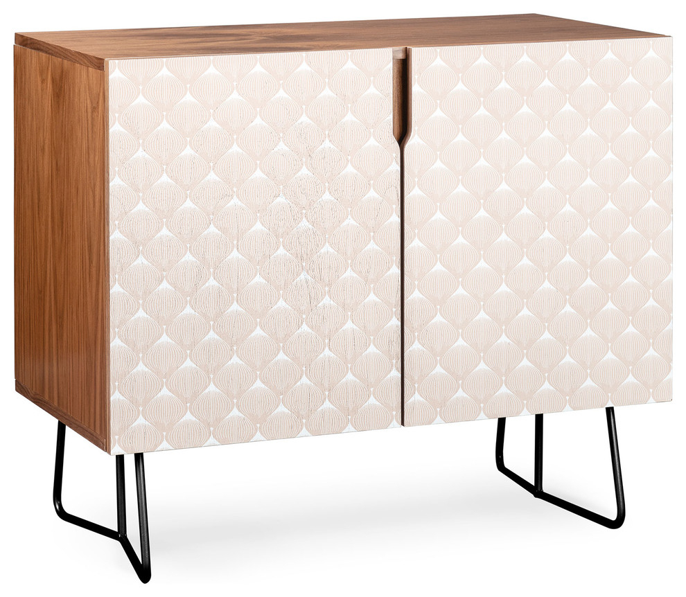 Deny Designs Pale Pink Spring Bulbs Credenza, Walnut, Black Steel Legs Intended For Pale Pink Bulbs Credenzas (Gallery 6 of 30)