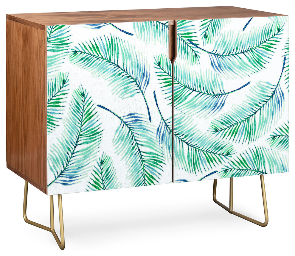 Deny Designs Palms Watercolor Credenza, Walnut, Gold Steel Legs For Emerald Cubes Credenzas (Gallery 24 of 30)