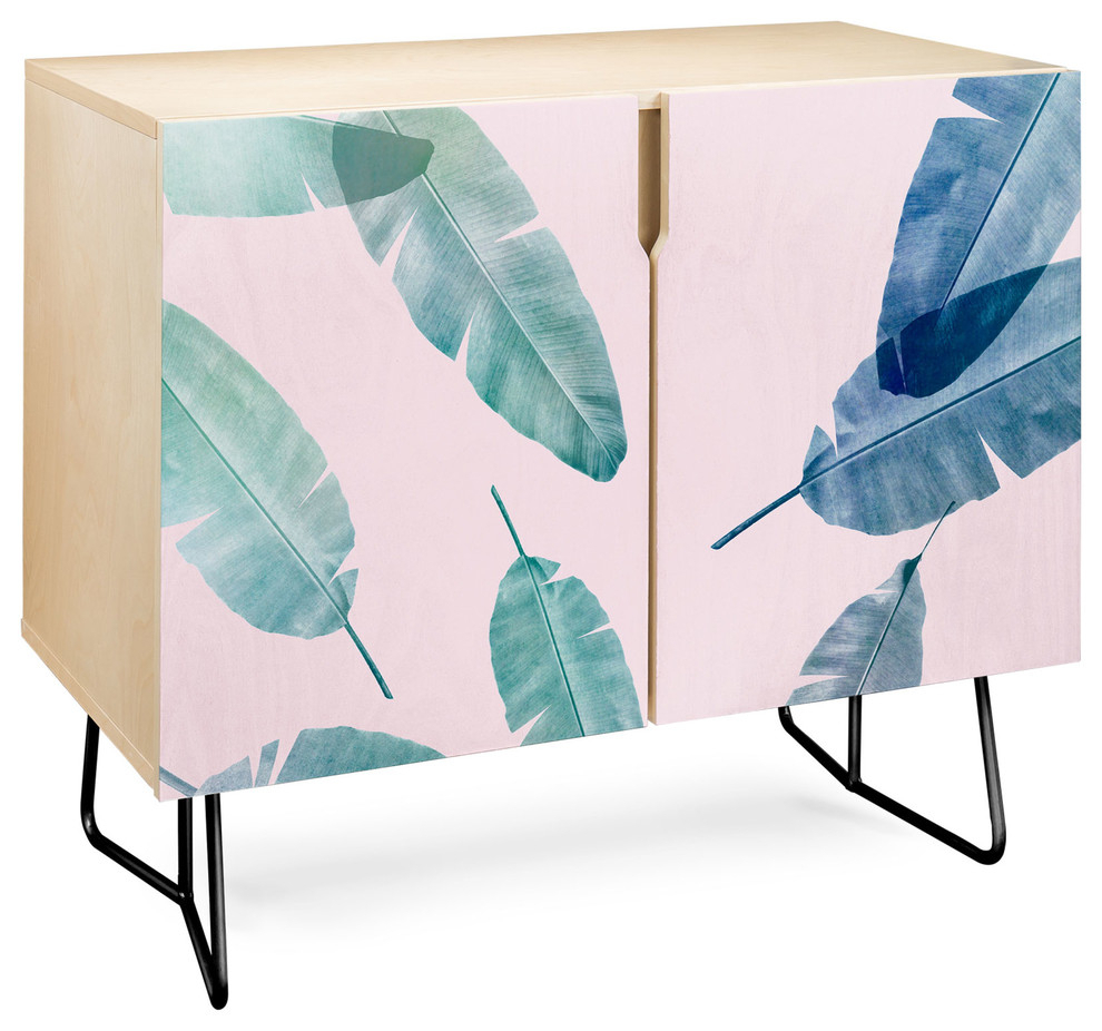 Deny Designs Peaches N Cream Credenza, Birch, Black Steel Legs For Emerald Cubes Credenzas (Gallery 11 of 30)