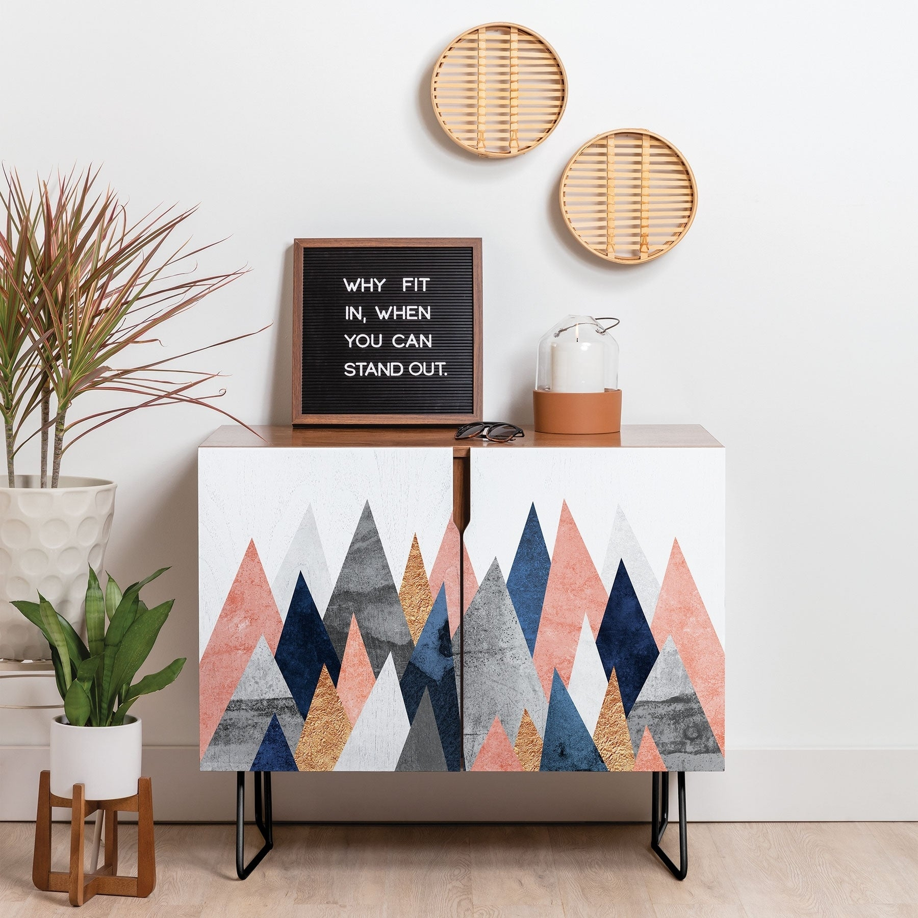 Deny Designs Pink And Navy Peaks Credenza (Birch Or Walnut, 2 Leg Options) For Pink And Navy Peaks Credenzas (Photo 2 of 30)