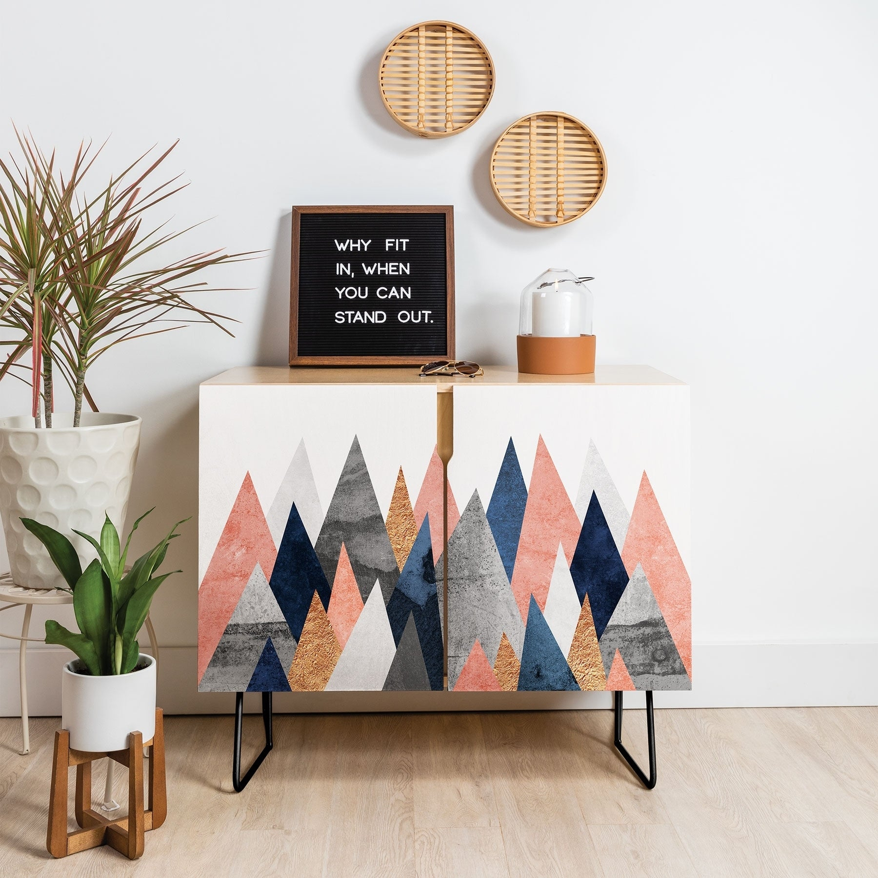 Deny Designs Pink And Navy Peaks Credenza (Birch Or Walnut, 2 Leg Options) In Pink And Navy Peaks Credenzas (Photo 3 of 30)