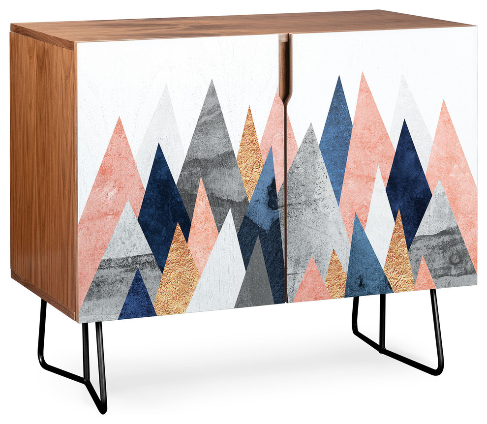 Deny Designs Pink And Navy Peaks Credenza, Walnut, Black Steel Legs For Pale Pink Bulbs Credenzas (Photo 16 of 30)