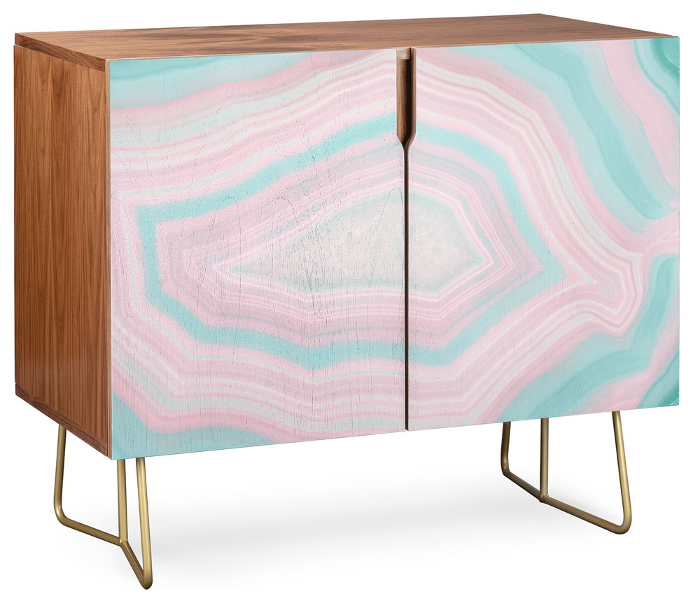 Deny Designs Pink And Teal Agate Credenza, Walnut, Gold Steel Legs Pertaining To Pink And Navy Peaks Credenzas (Photo 5 of 30)