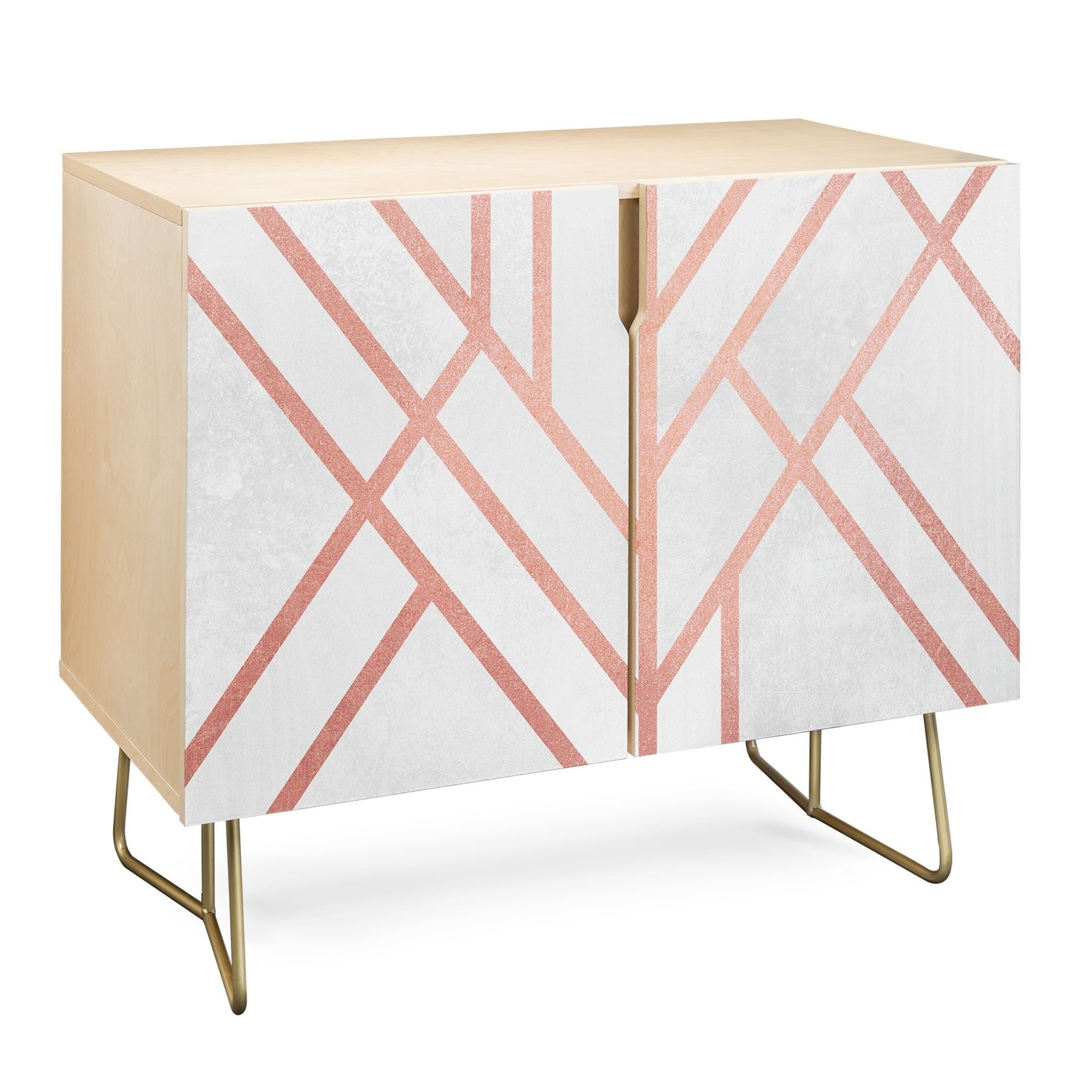 Deny Designs Pink And White Geometric Credenza (Birch Or Walnut, 3 Leg  Options) Intended For Pink And White Geometric Buffets (Photo 3 of 30)