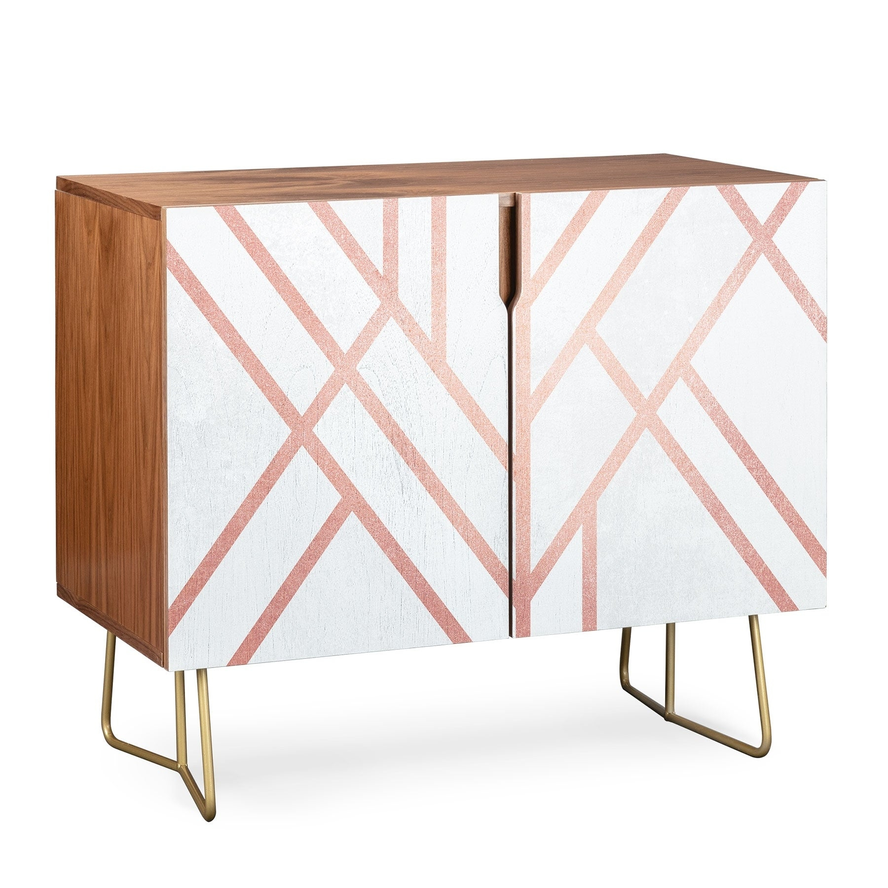 Deny Designs Pink And White Geometric Credenza (Birch Or Walnut, 3 Leg  Options) Pertaining To Pink And White Geometric Buffets (Photo 7 of 30)
