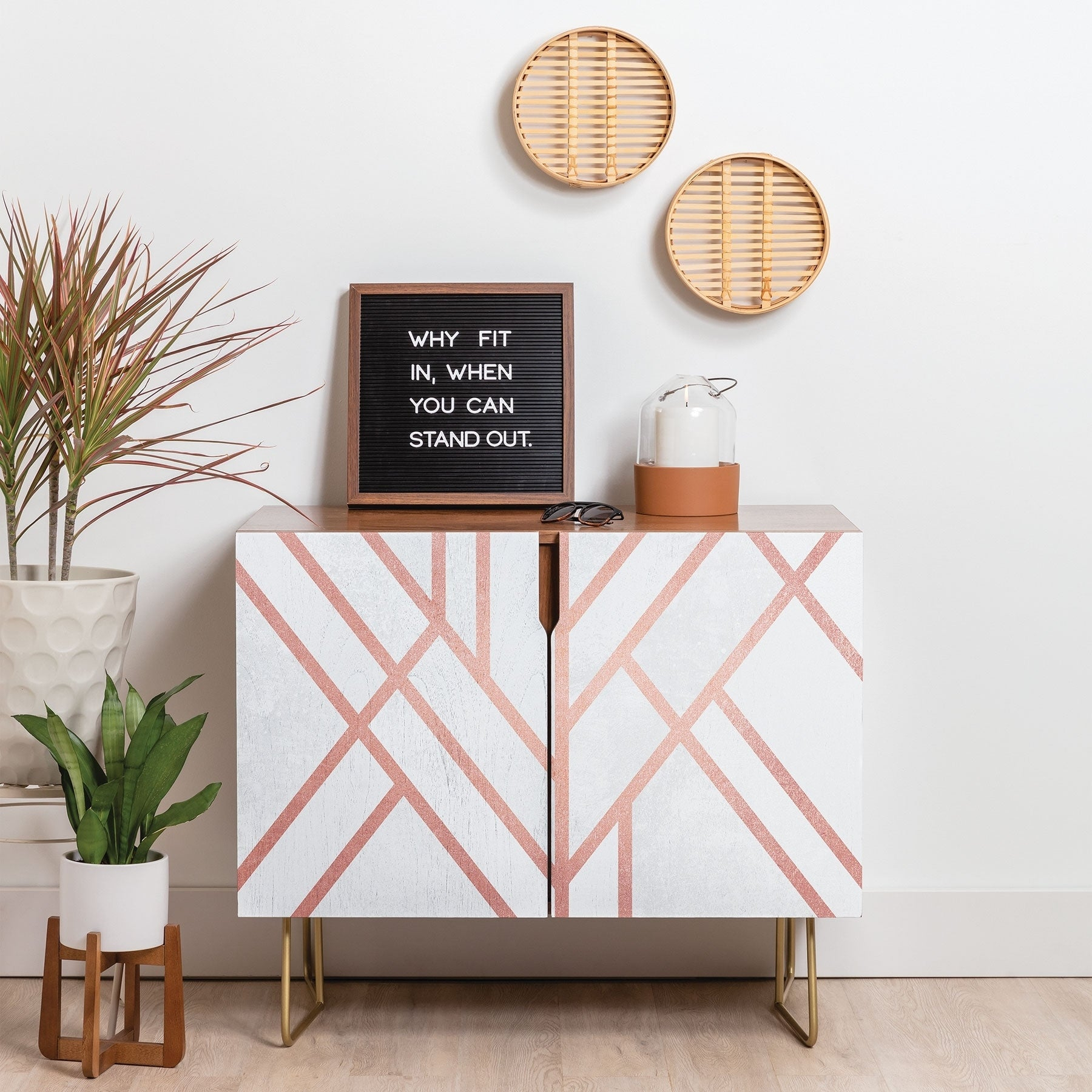 Deny Designs Pink And White Geometric Credenza (Birch Or Walnut, 3 Leg Options) Regarding Line Geo Credenzas (View 11 of 30)