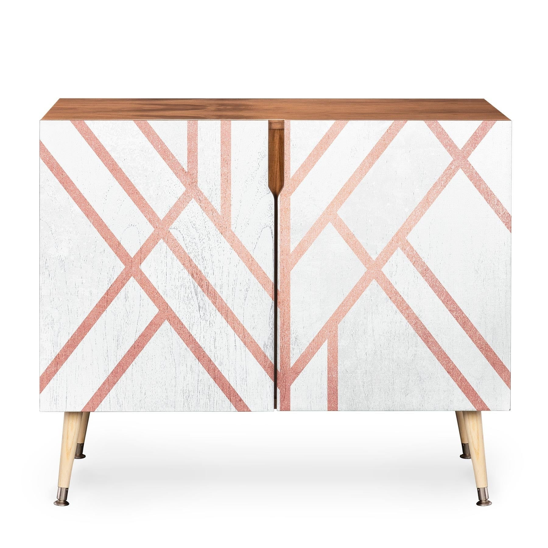 Deny Designs Pink And White Geometric Credenza (birch Or Walnut, 3 Leg Options) With Regard To Wooden Deconstruction Credenzas (View 14 of 30)