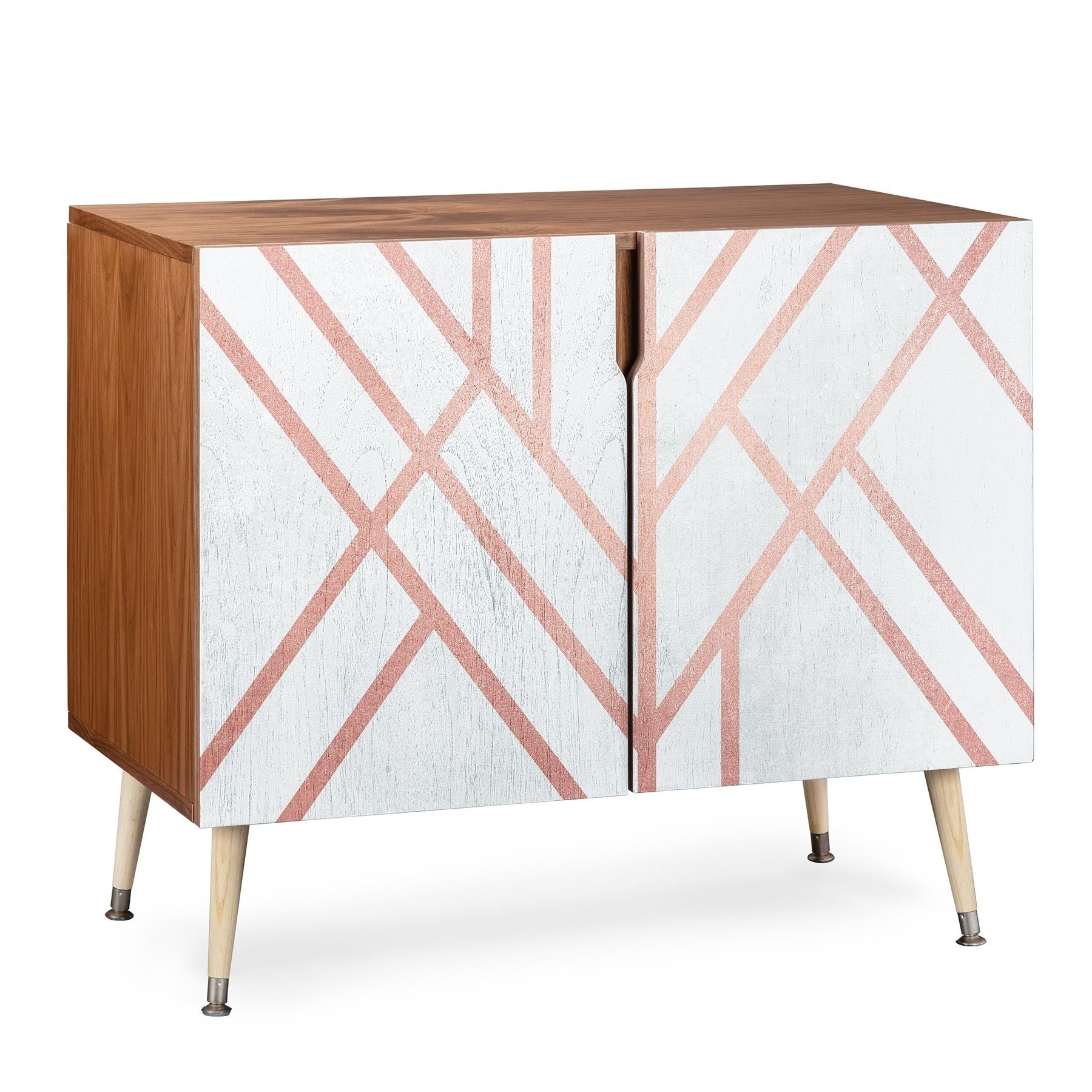 Deny Designs Pink And White Geometric Credenza (Birch Or Walnut, 3 Leg  Options) Within Wooden Deconstruction Credenzas (Photo 29 of 30)
