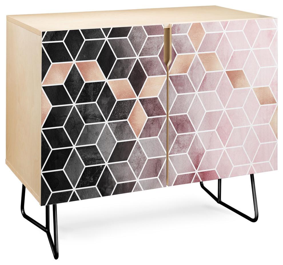 Deny Designs Pink Grey Gradient Cubes Credenza, Birch, Black Steel Legs For Pink And Navy Peaks Credenzas (Gallery 7 of 30)
