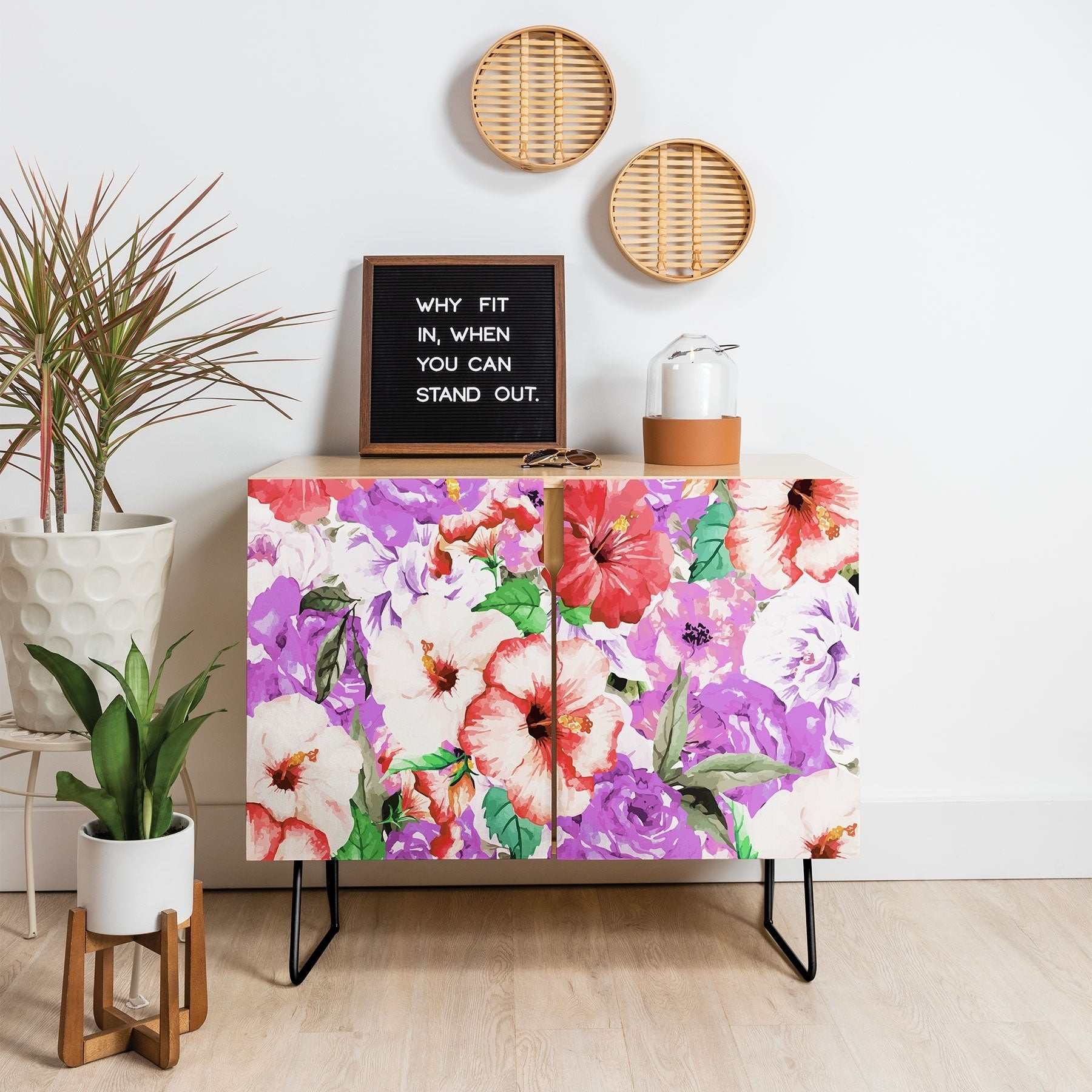 Deny Designs Purple Floral Credenza (Birch Or Walnut, 2 Leg Options) Intended For Purple Floral Credenzas (Gallery 1 of 30)