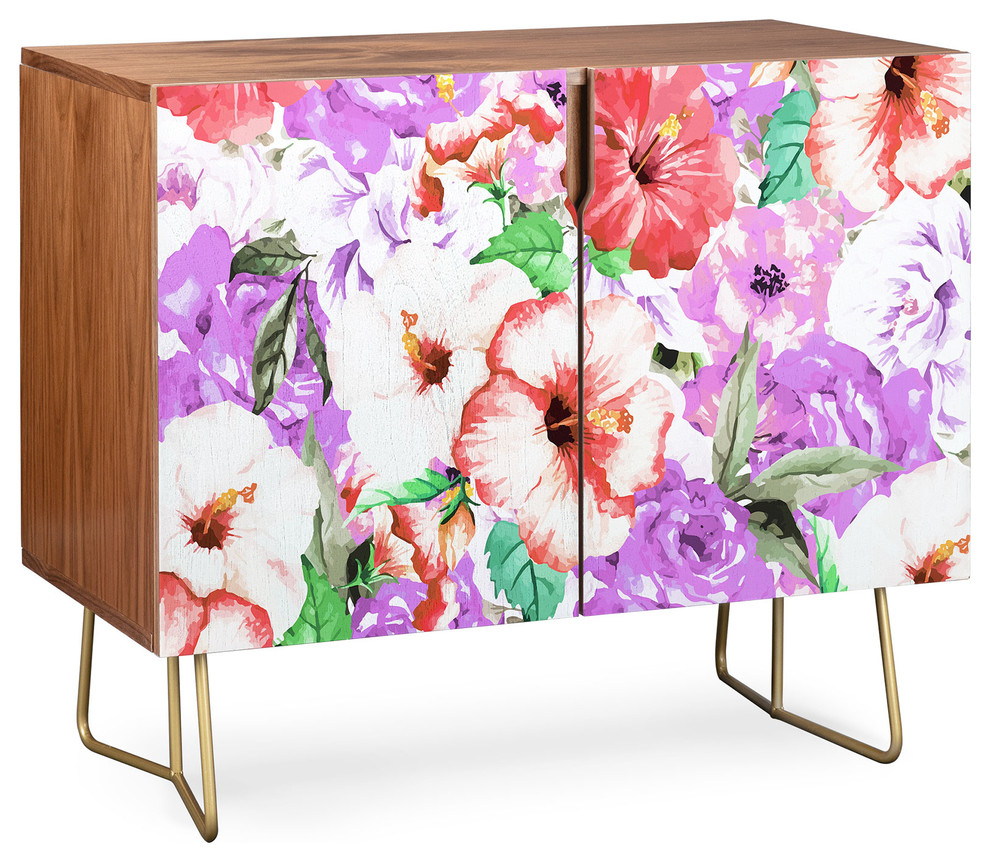 Deny Designs Purple Floral Credenza, Walnut, Gold Steel Legs Pertaining To Lovely Floral Credenzas (View 5 of 30)