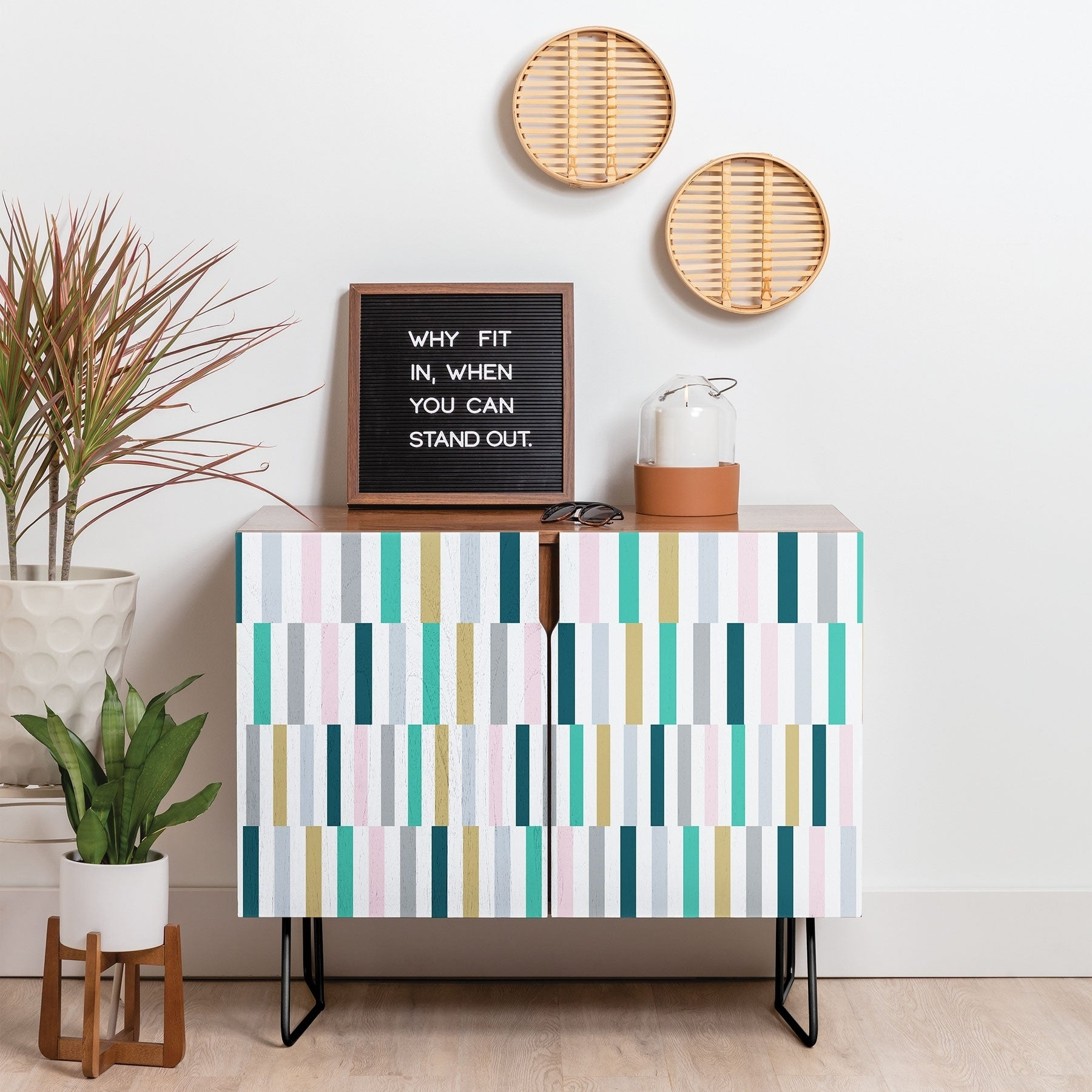 Deny Designs Scandi Stripes Credenza (Birch Or Walnut, 2 Leg Options) For Six Stripes Buffets (View 10 of 30)