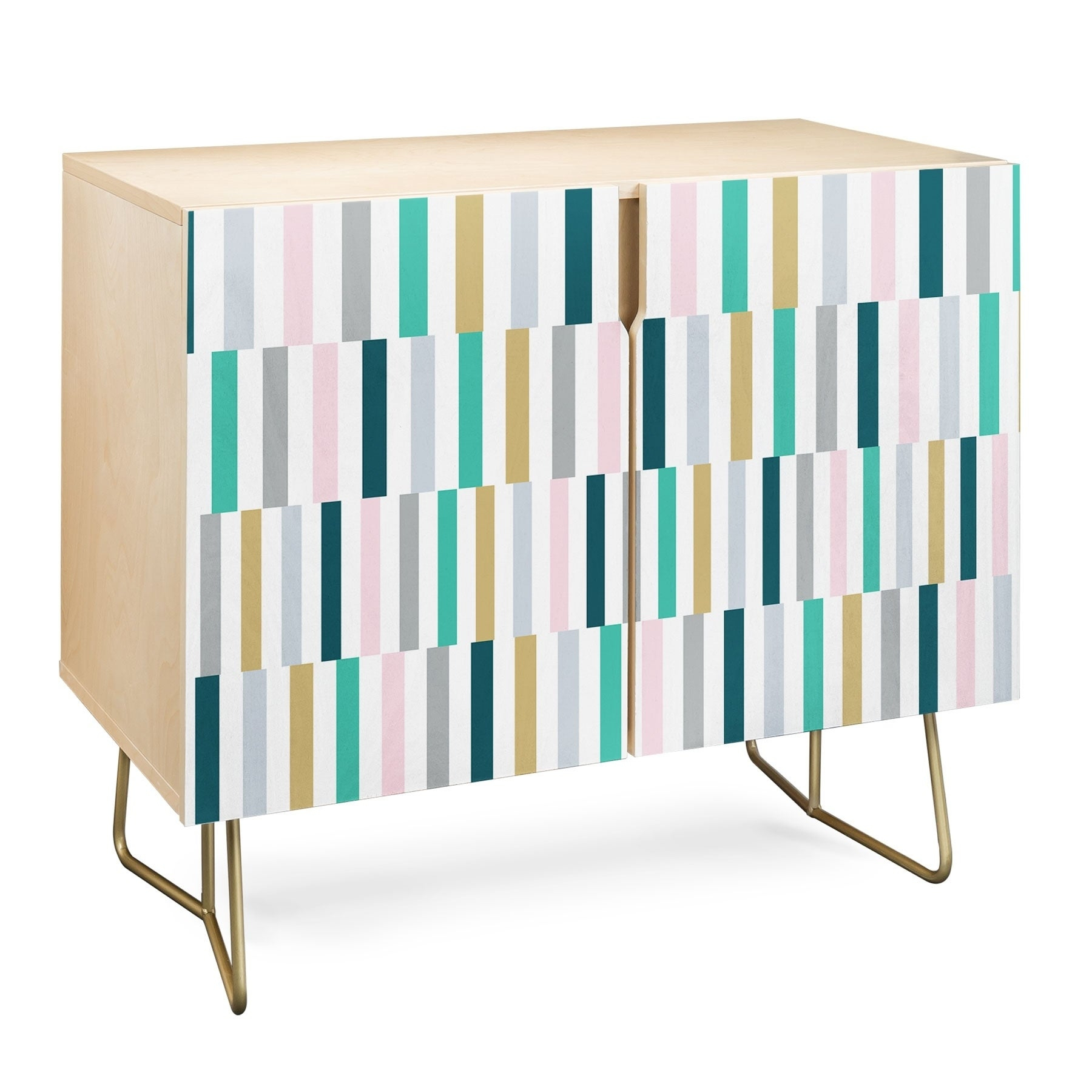 Deny Designs Scandi Stripes Credenza (Birch Or Walnut, 2 Leg Options) Pertaining To Oenomel Credenzas (Gallery 15 of 30)