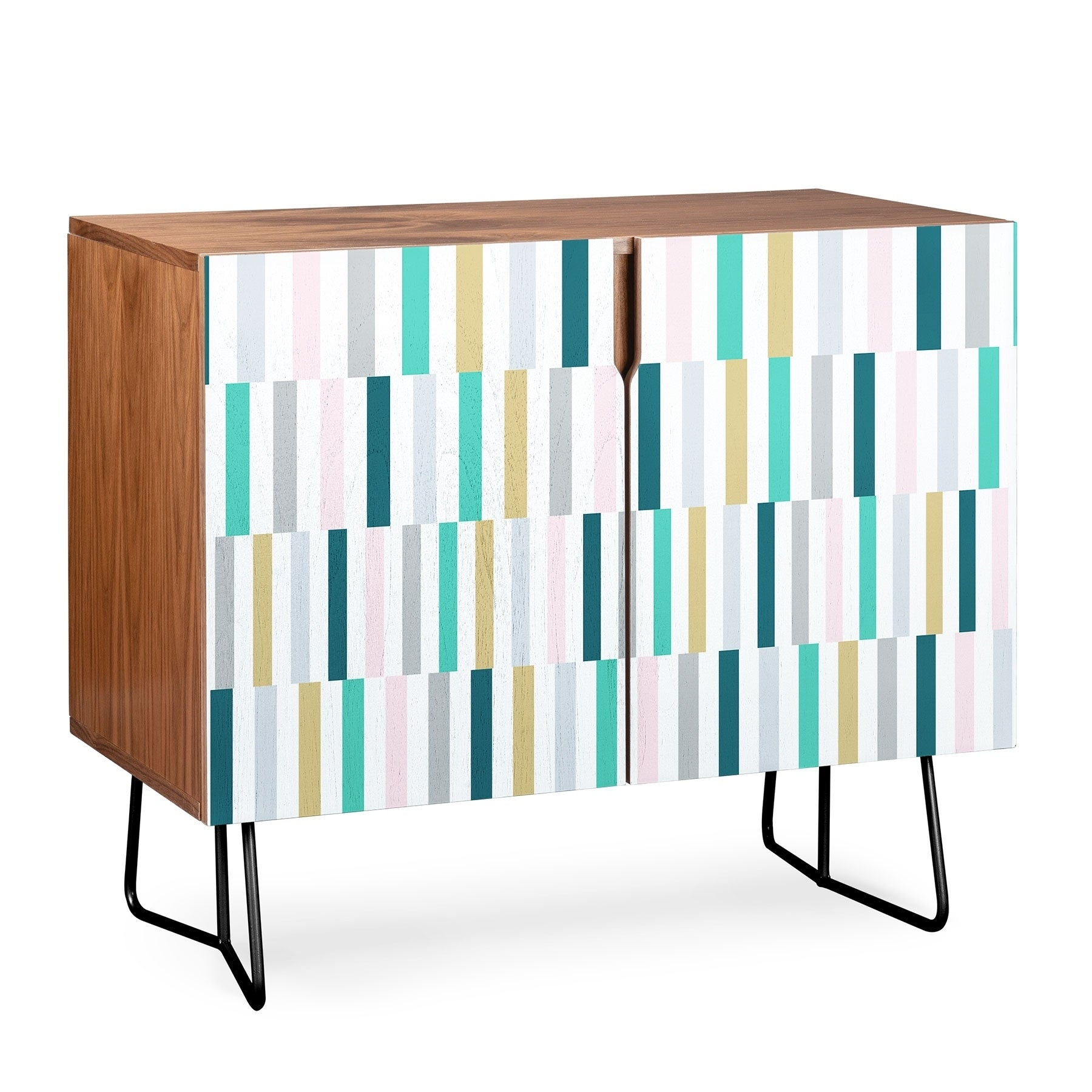 Deny Designs Scandi Stripes Credenza (Birch Or Walnut, 2 Leg Options) with regard to Multi Stripe Credenzas (Image 11 of 30)