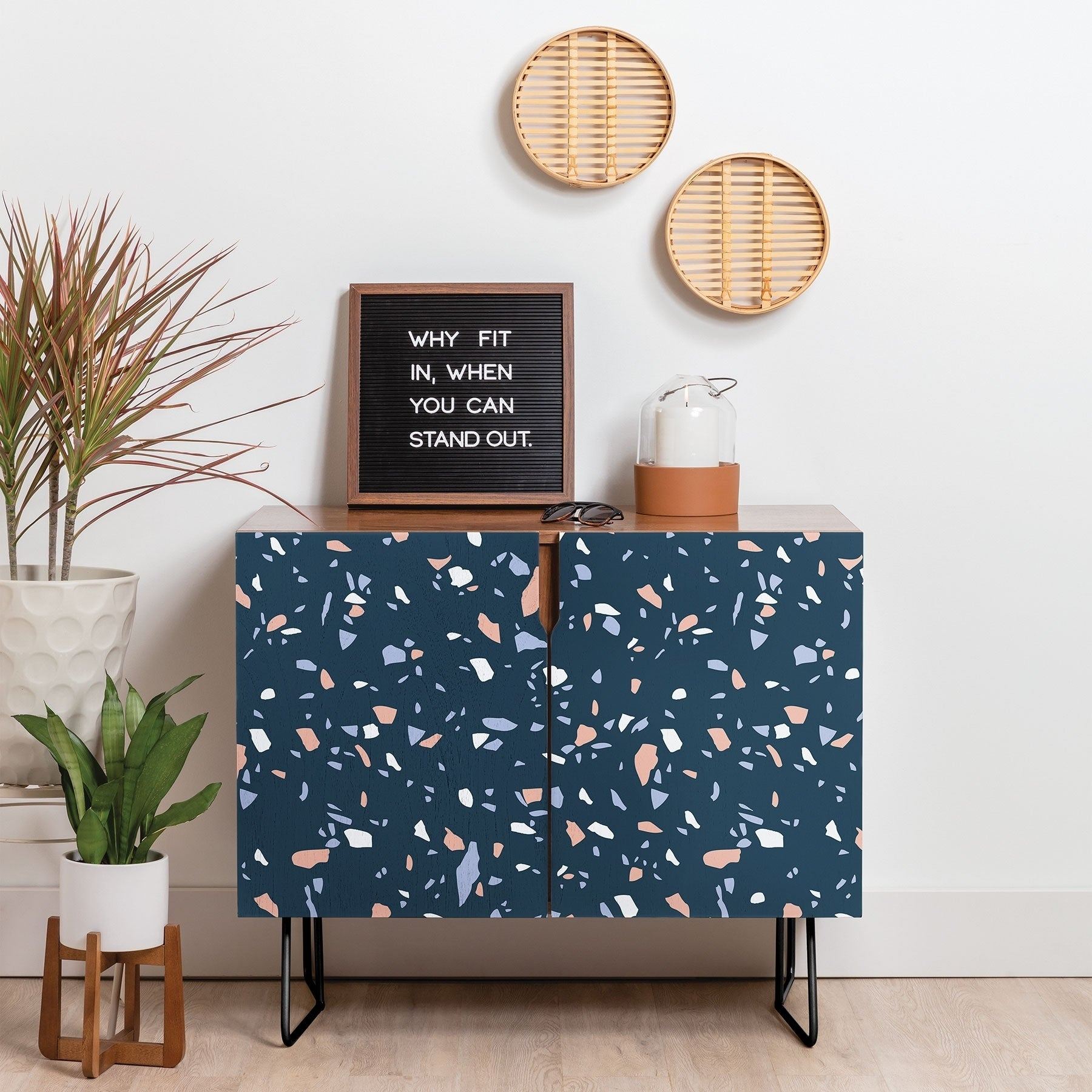 Deny Designs So Blue Terrazzo Credenza (Birch Or Walnut, 2 Leg Options) Intended For Blue Stained Glass Credenzas (Gallery 18 of 30)