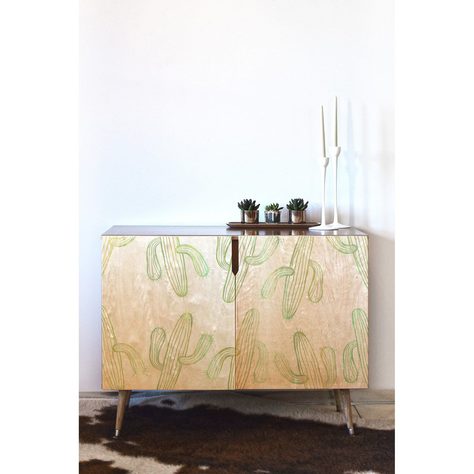 Deny Designs Sophia Buddenhagen Cactus Party Credenza Within Pink And White Geometric Buffets (Photo 10 of 30)