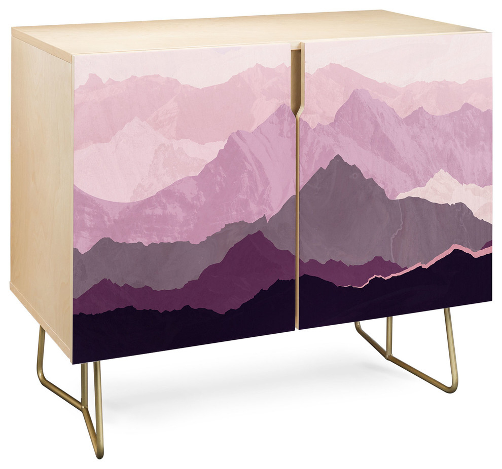 Deny Designs Sugar Plum Credenza, Birch, Gold Steel Legs With Bright Angles Credenzas (Photo 4 of 30)