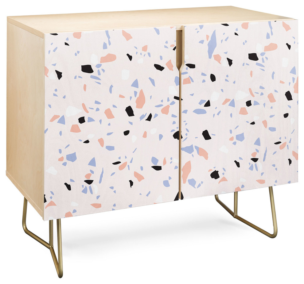 Deny Designs Sweet Terrazzo Texture Credenza, Birch, Gold Steel Legs With Regard To Mandala Tile Marine Credenzas (Gallery 6 of 30)