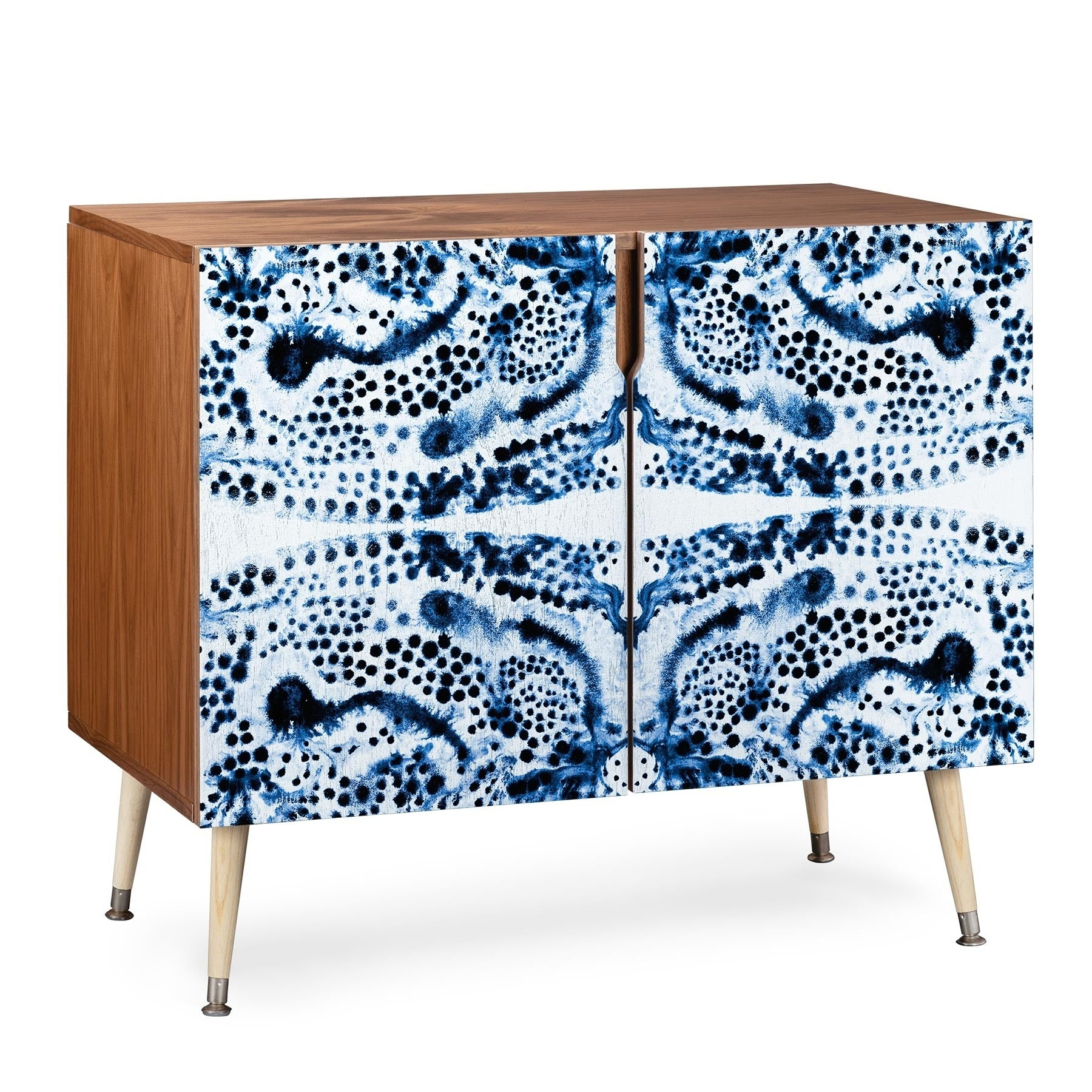 Deny Designs Symmetric Blue Swirl Credenza (birch Or Walnut, 3 Leg Options) Intended For Wooden Deconstruction Credenzas (View 5 of 30)