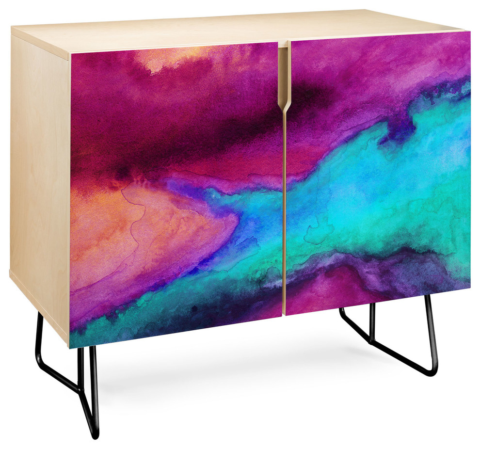 Deny Designs The Tide Credenza, Birch, Black Steel Legs For Botanical Harmony Credenzas (Photo 10 of 30)