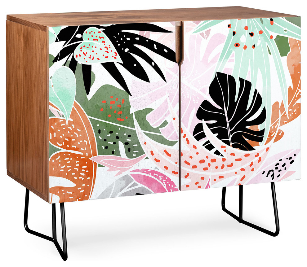 Deny Designs Tropical Palm Leaves Credenza, Walnut, Black Steel Legs In Colorful Leaves Credenzas (Photo 30 of 30)