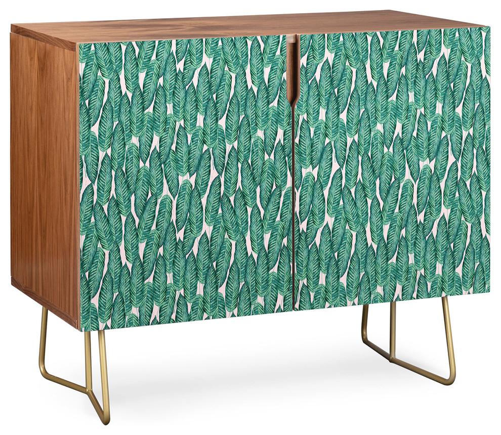 Deny Designs Tropical Serenity Credenza, Walnut, Gold Steel Legs Regarding Mandala Tile Marine Credenzas (View 15 of 30)