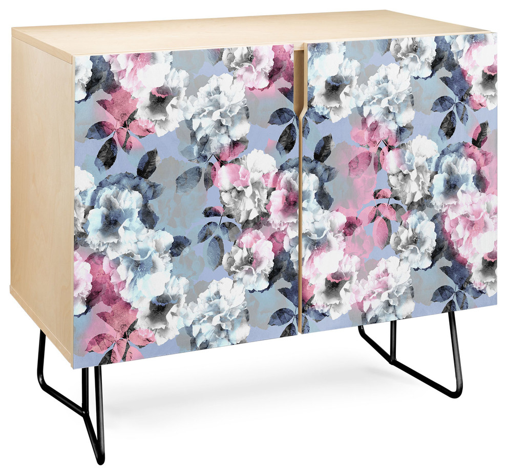 Deny Designs Vintage Floral Theme Credenza, Birch, Black Steel Legs Throughout Desert Crystals Theme Credenzas (Gallery 6 of 30)