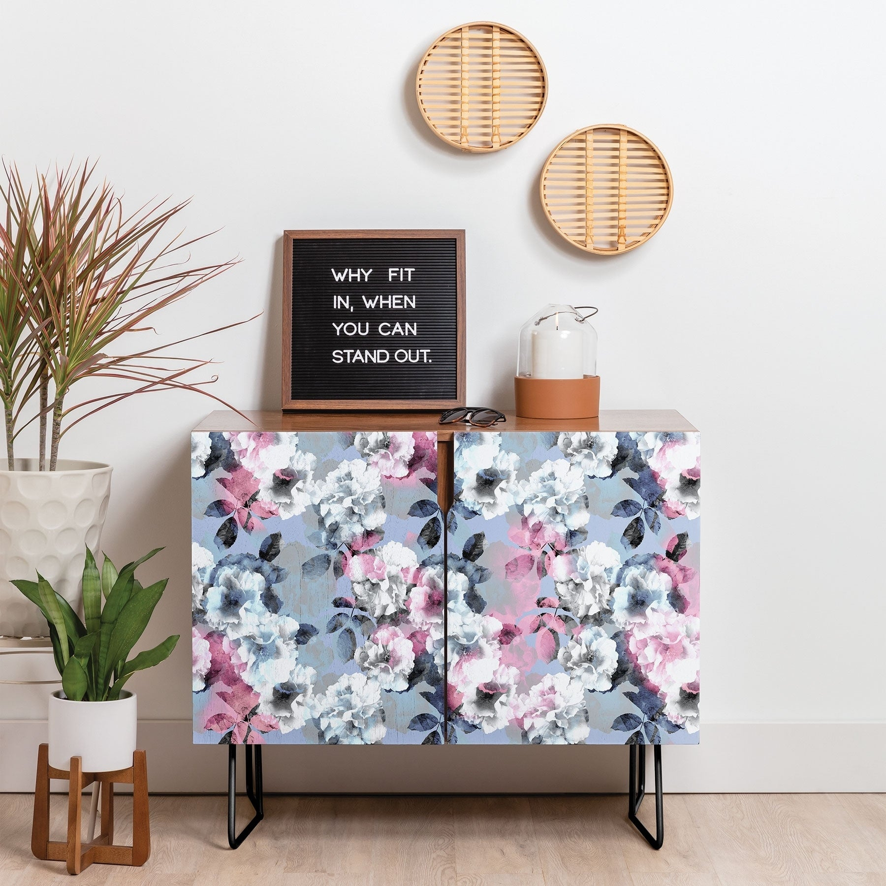 Deny Designs Vintage Floral Theme Credenza (Birch Or Walnut, 2 Leg Options) With Regard To Lovely Floral Credenzas (Photo 2 of 30)