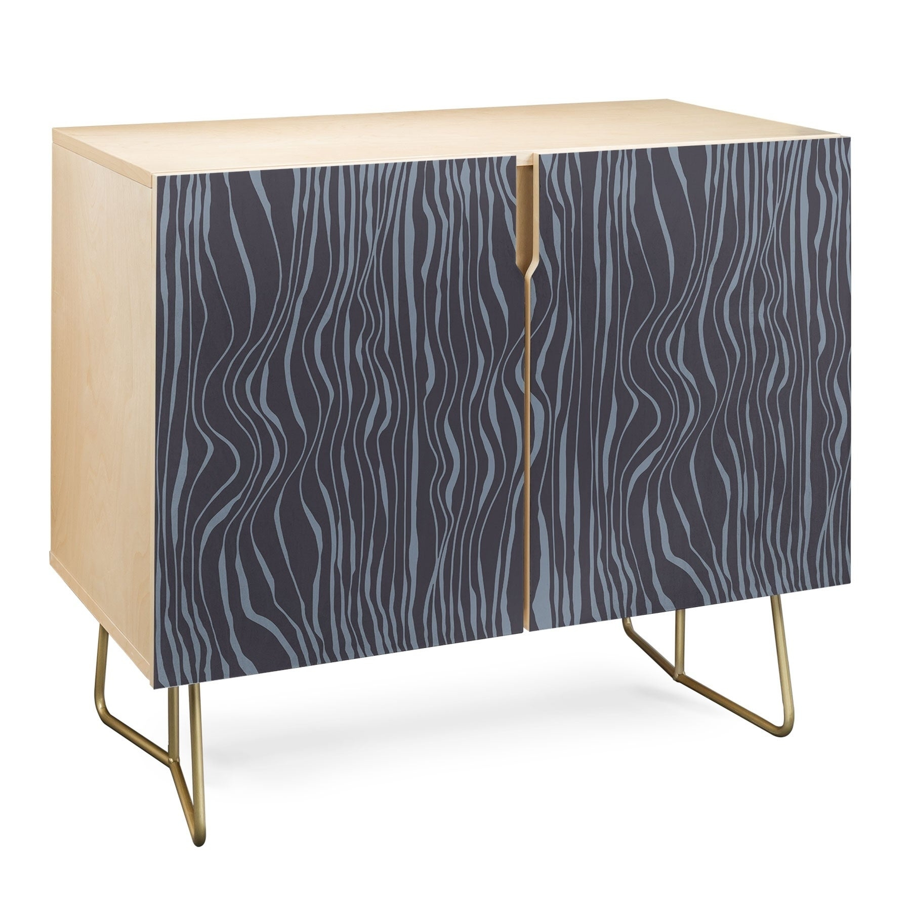 Deny Designs Wavy Stripes Credenza (Birch Or Walnut, 2 Leg Options) within Multi Stripe Credenzas (Image 13 of 30)
