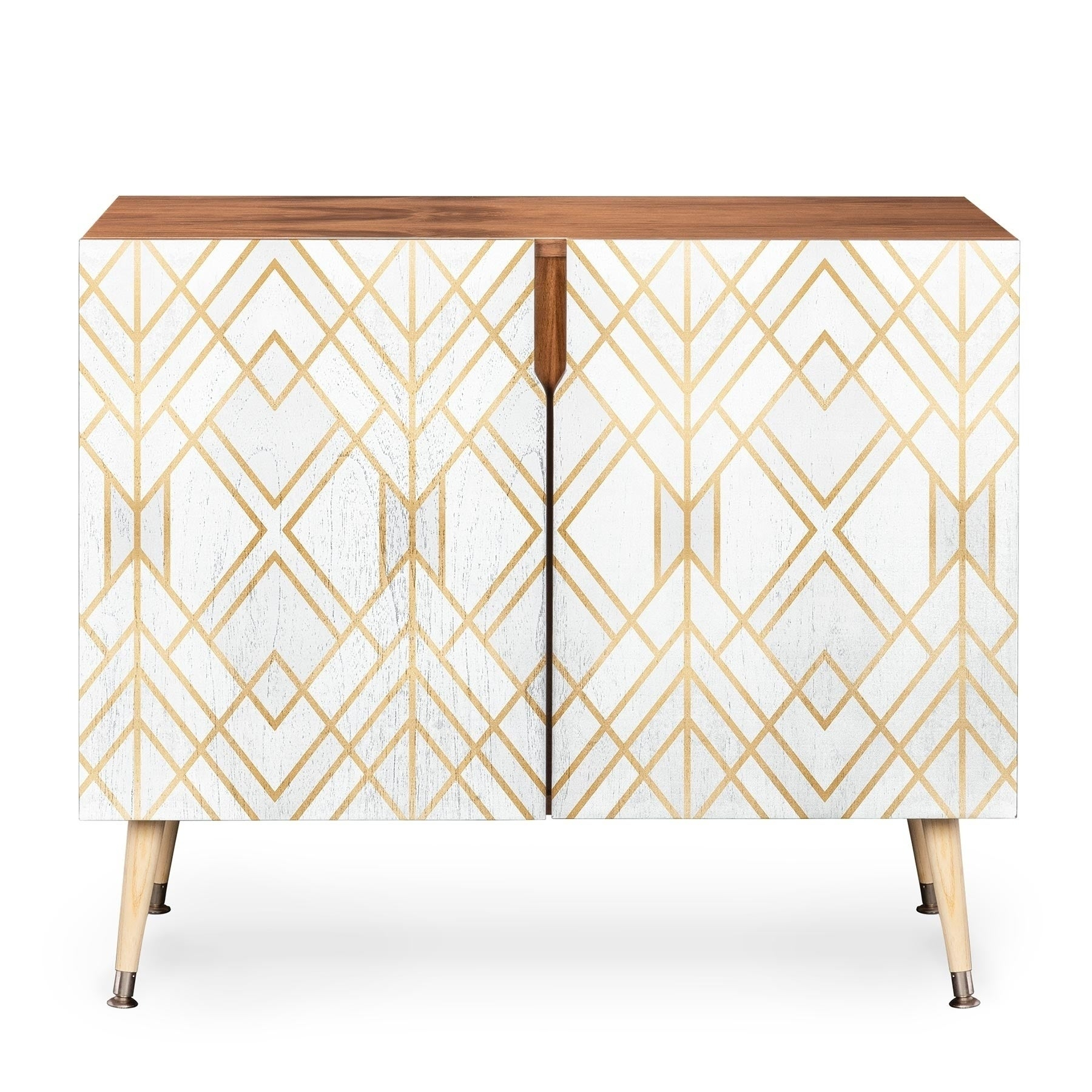 Deny Designs White Geometric Credenza (Birch Or Walnut, 3 Leg Options) Pertaining To Copper Leaf Wood Credenzas (Gallery 7 of 30)