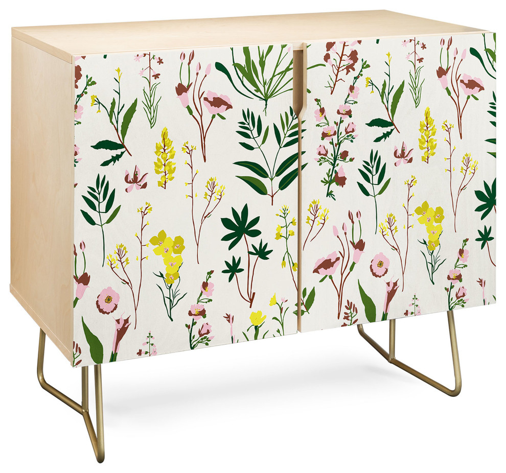 Deny Designs Wildflower Light Credenza, Birch, Gold Steel Legs Pertaining To Neon Bloom Credenzas (Gallery 5 of 30)