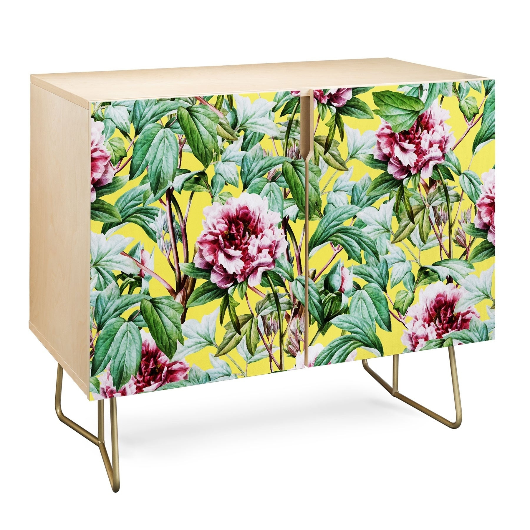 Deny Designs Yellow Flora Credenza (Birch Or Walnut, 2 Leg Options) Intended For Floral Blush Yellow Credenzas (Gallery 5 of 30)