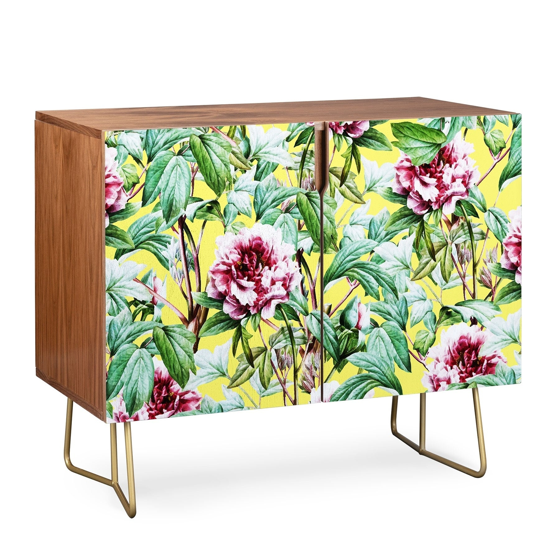 Deny Designs Yellow Flora Credenza (Birch Or Walnut, 2 Leg Options) With Floral Blush Yellow Credenzas (Photo 2 of 30)