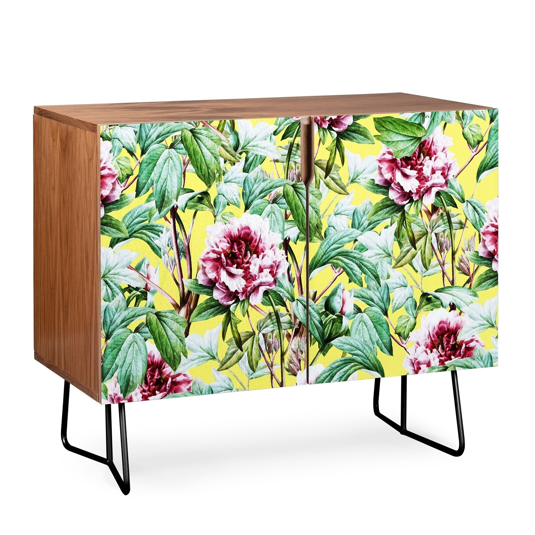 Deny Designs Yellow Flora Credenza (Birch Or Walnut, 2 Leg Options) Within Yellow Flora Credenzas (Photo 1 of 30)