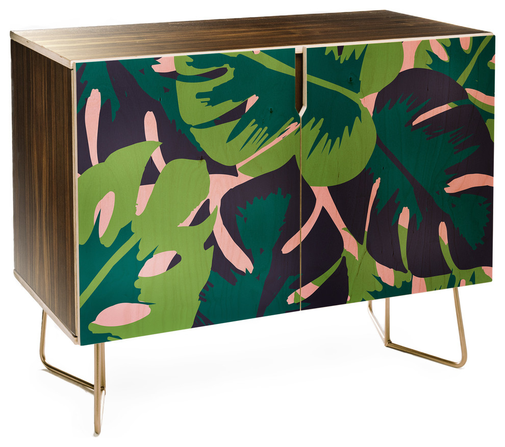 Deny Designs Zoe Wodarz Patio Party Credenza Regarding Floral Blush Yellow Credenzas (Gallery 10 of 30)