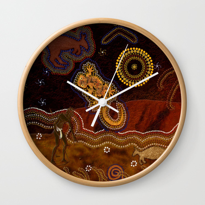 Desert Heat – Australian Aboriginal Art Theme Wall Clock Inside Desert Crystals Theme Credenzas (Gallery 28 of 30)