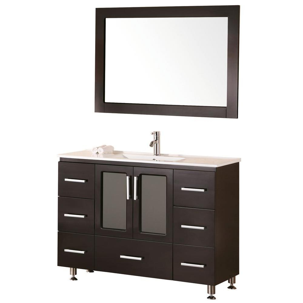 Design Element Stanton 48 In. W X 18 In. D Vanity In Espresso With Porcelain Vanity Top And Mirror In White For Upper Stanton Sideboards (Gallery 14 of 30)