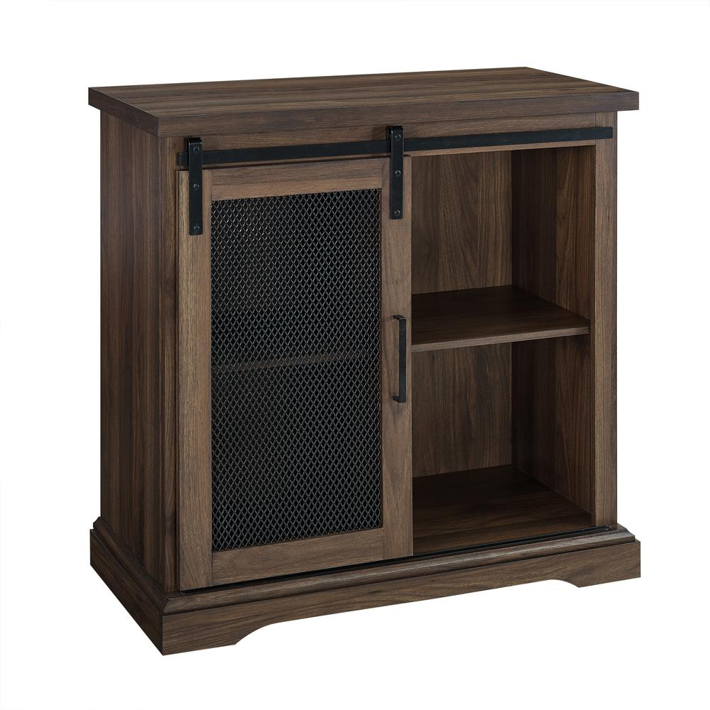 "Details About 32"" Farmhouse Wood Buffet Cabinet With Metal Mesh Sliding Door – Dark Walnut Inside Vintage Walnut Sliding Door Buffets (Gallery 7 of 30)"