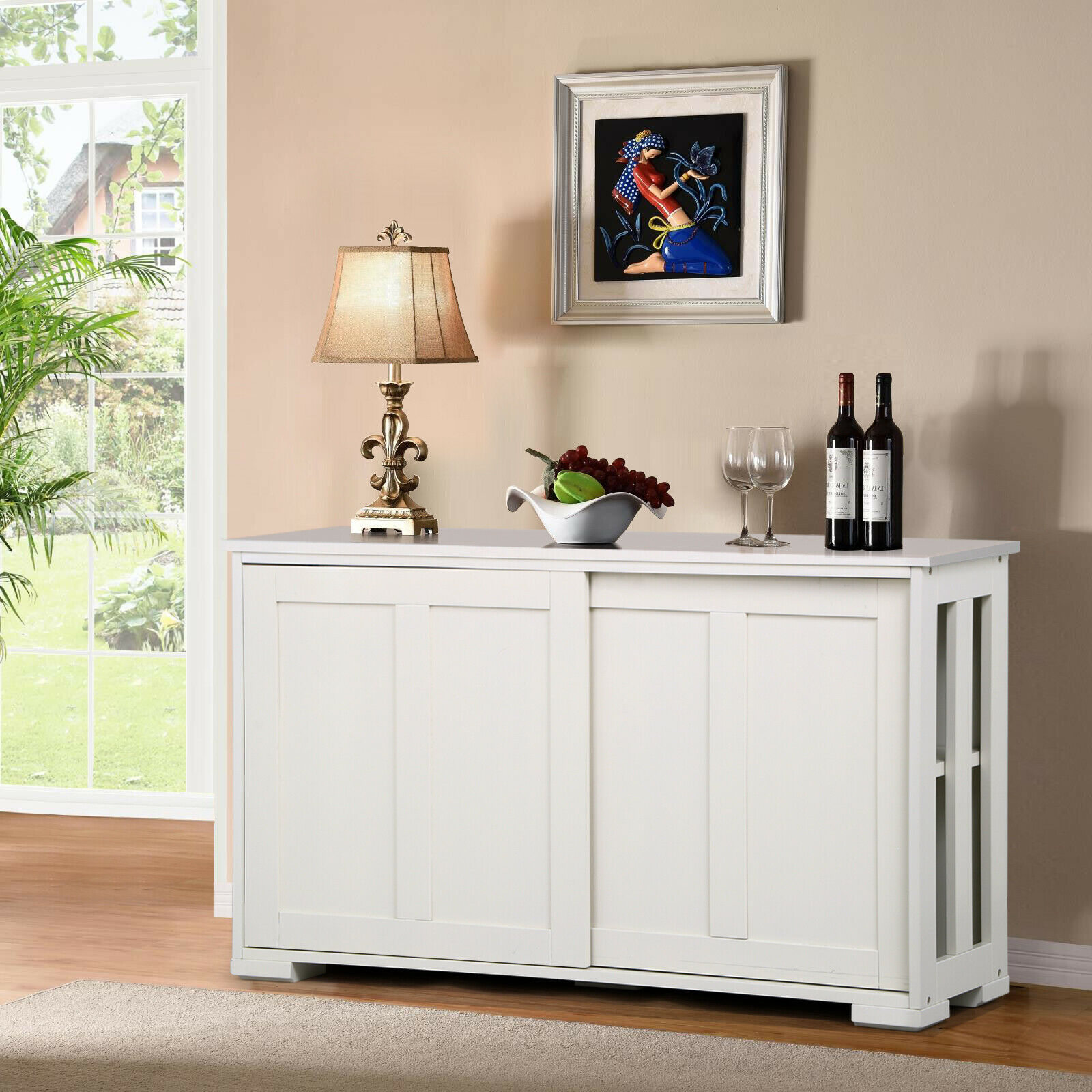 Details About Antique White Buffet Cabinet Kitchen Table Sliding Door Stackable Sideboard Stor Within Glass Sliding Door Stackable Buffets (Gallery 10 of 30)